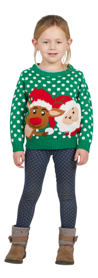 Image pour Pull de Noël enfant vert taille 116/taille 122 à partir de ColliShop
