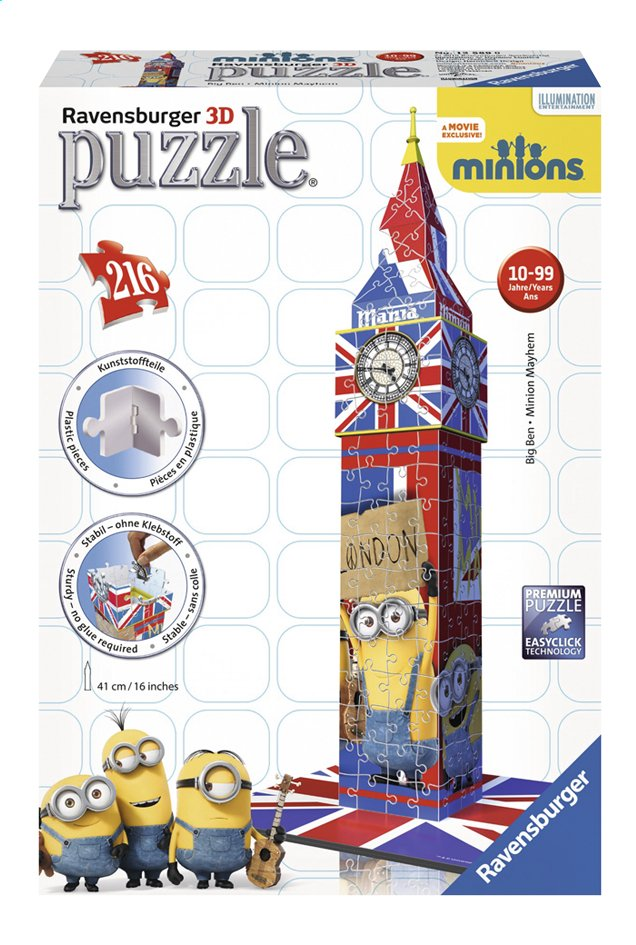 Image pour Ravensburger puzzle 3D Minions Big Ben à partir de ColliShop