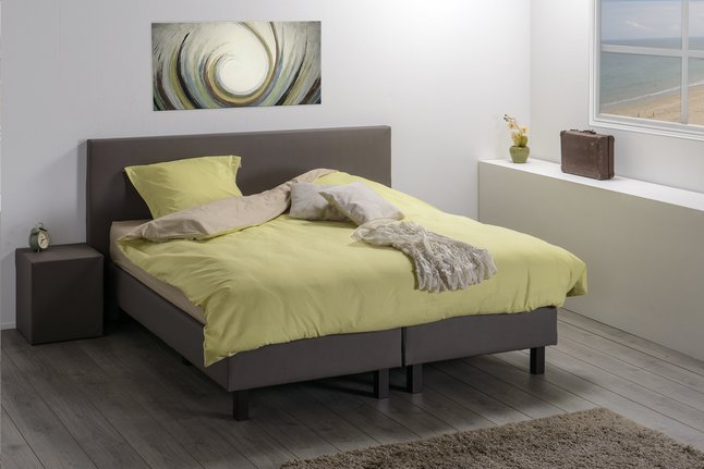 Afbeelding van Vaste boxspring Farao lederlook taupe from ColliShop