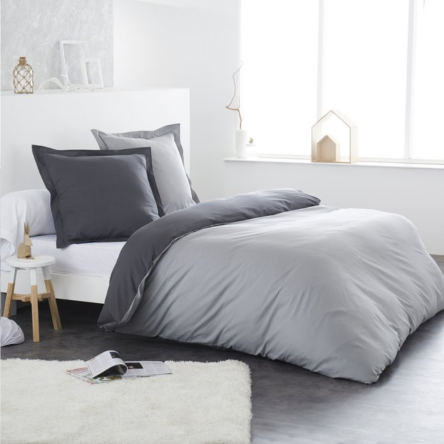home linen housse de couette bicolore gris clair anthracite en flanelle 200 x 200 cm collishop. Black Bedroom Furniture Sets. Home Design Ideas