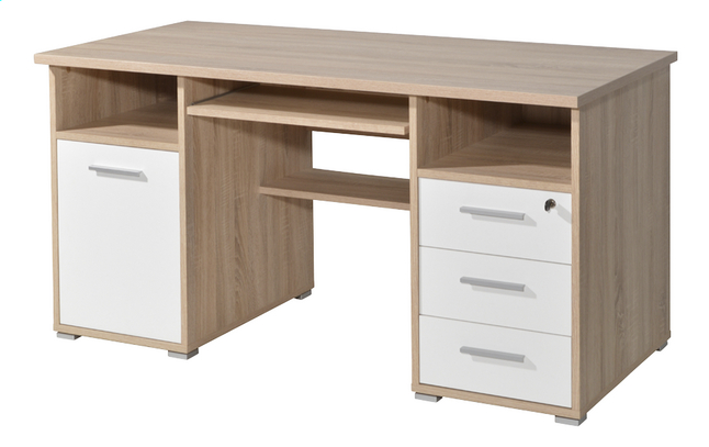 Germania Bureau 3 lades/1 deur eikdecor/wit decor