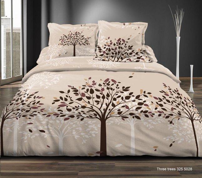 Home lineN Housse de couette Three Trees flanelle beige 200 x 200 cm