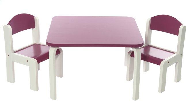 Image pour Table avec 2 chaises Fabio blanc/fuchsia à partir de ColliShop