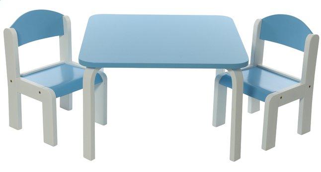 Image pour Table avec 2 chaises Fabio blanc/bleu à partir de ColliShop