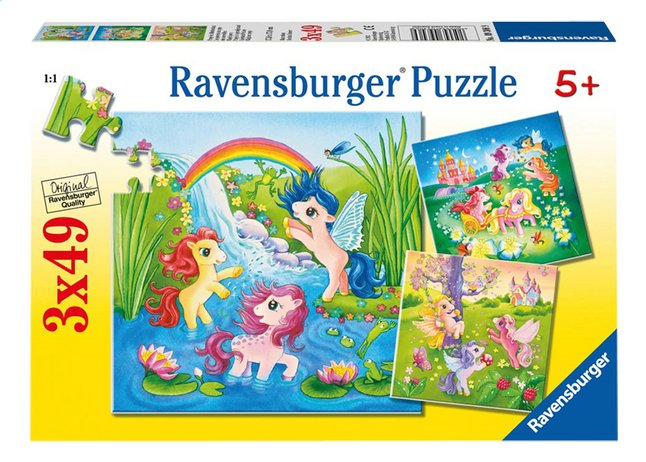 Afbeelding van Ravensburger 3-in-1 puzzel Pony's in sprookjesland from ColliShop