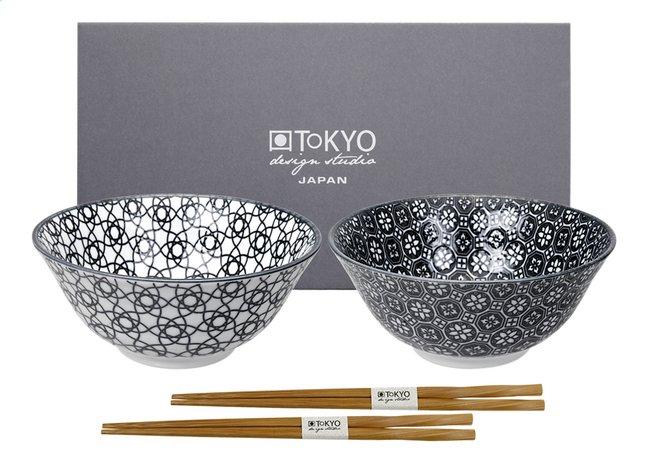 Image pour Tokyo Design Studio 2 bols à riz Nippon Black Stripe & Flower Diamètre 15 cm à partir de ColliShop