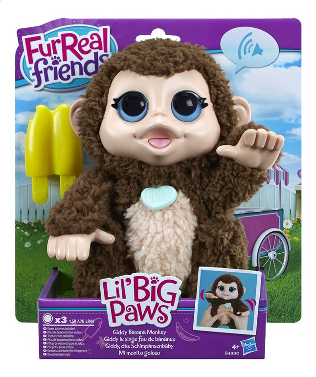 Afbeelding van FurReal Friends interactieve knuffel Lil' Big Paws Giddy Banana Monkey from ColliShop