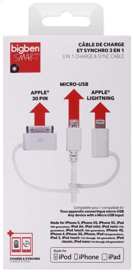 Image pour Bigben câble 3 en 1 : micro-USB, Apple Lightning et 30 broches à partir de ColliShop