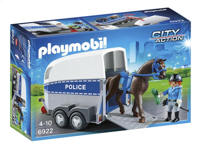 Afbeelding van Playmobil City Action 6922 Bereden politie met trailer from ColliShop