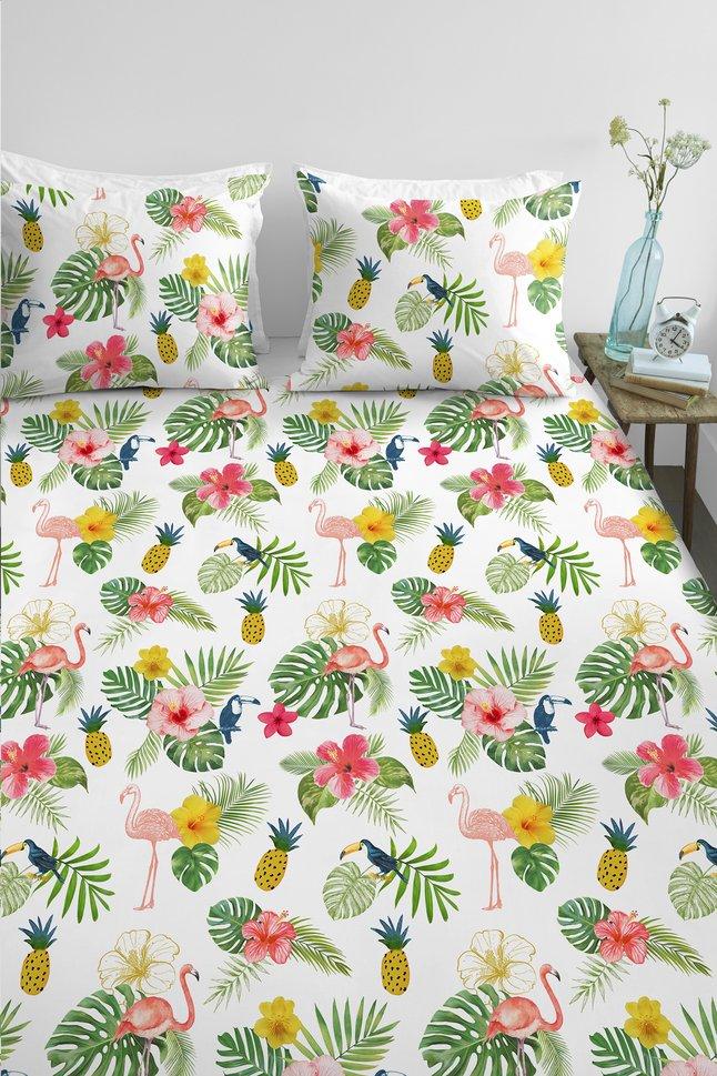 Ambiante Housse De Couette Tropical Flamingo Coton 240 X 220 Cm