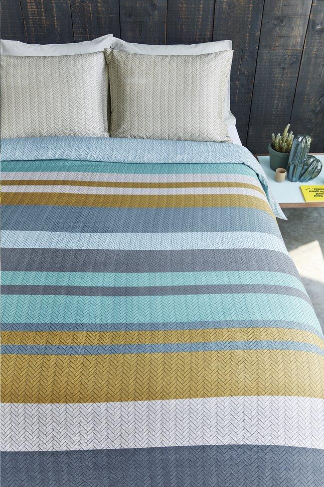 Image pour Beddinghouse Housse de couette Linee blue satin de coton 140 x 220 cm à partir de ColliShop