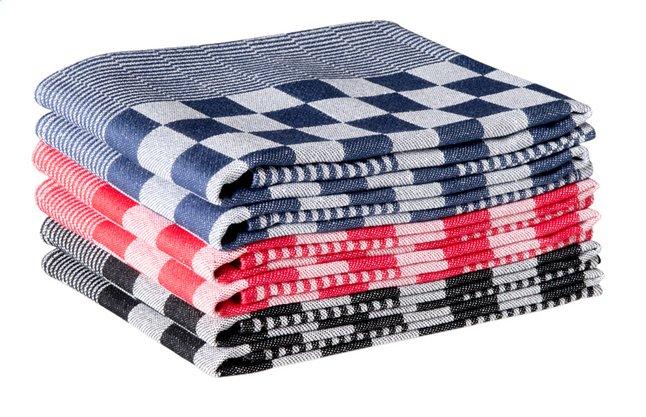 6 essuies de cuisine Hollands Blok bleu/rouge/noir 65 x 65 cm