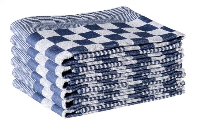 6 keukenhanddoeken Hollands Blok blauw/wit 65 x 65 cm