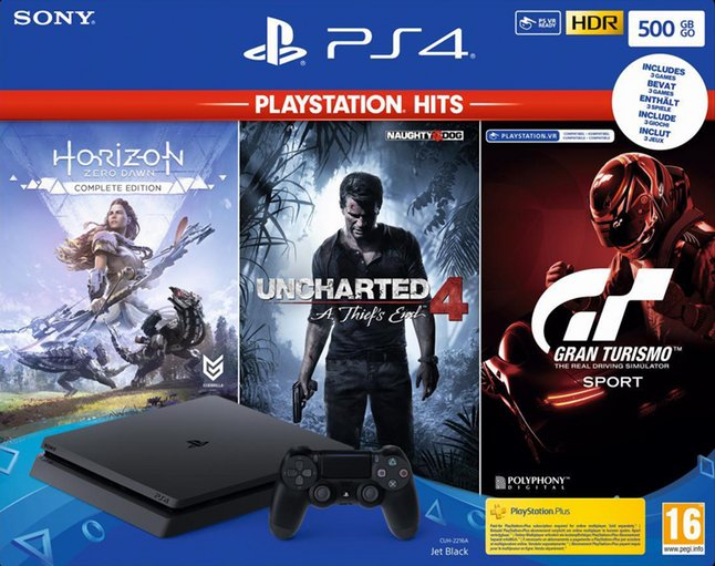 PS4 Slim 500 Go + Horizon Zero Dawn Complete Edition + Uncharted 4 A Thief's End + Gran Turismo Sport