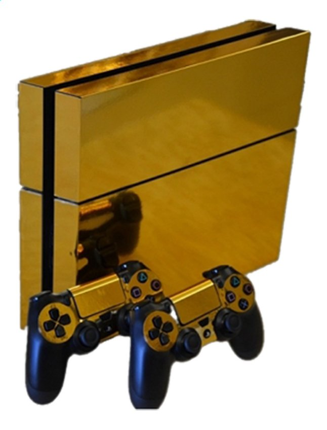 Afbeelding van PS4 console skins + 2 controllers skins Gold Chrome from ColliShop