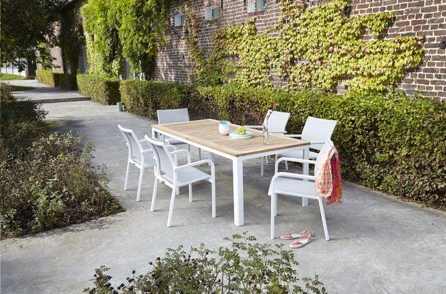 Image pour Ensemble de jardin York/Laos teck/blanc à partir de ColliShop