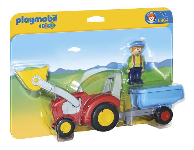 Afbeelding van Playmobil 1.2.3 6964 Boer met tractor en aanhangwagen from ColliShop