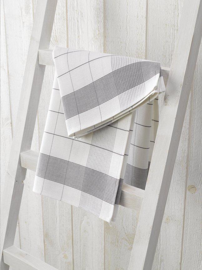 De Witte Lietaer 2 essuies de cuisine Luxury collection Mixte gris/blanc 65 x 65 cm