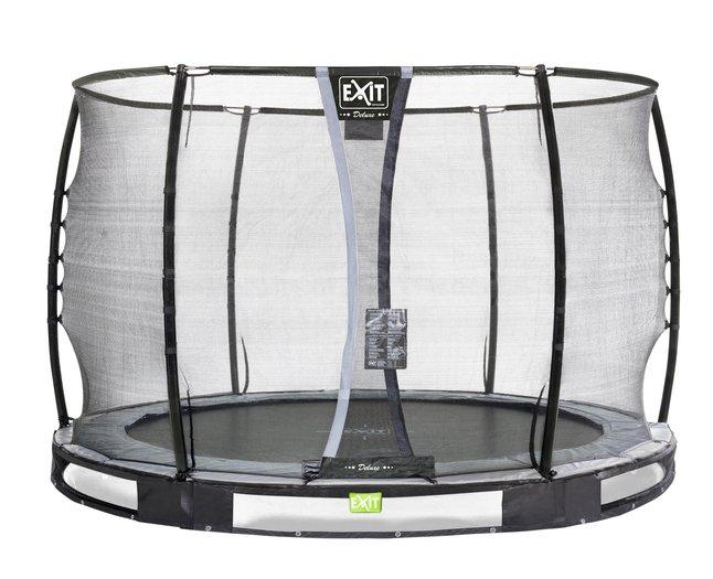 Afbeelding van EXIT inbouwtrampoline met veiligheidsnet Elegant Ground Premium Deluxe Ø 3,05 m zwart from ColliShop