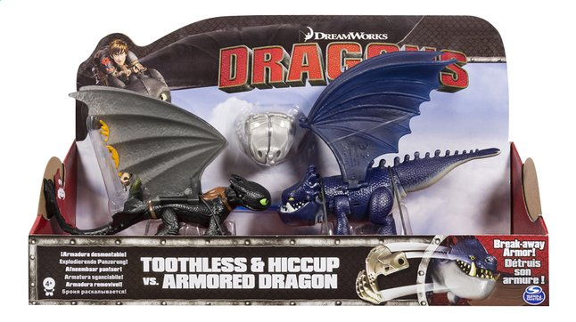 Afbeelding van Speelset Dragons Toothless & Hiccup vs. Armored Dragon blauw from ColliShop