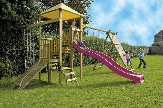 Image pour BnB Wood ensemble portique complet Zolder avec toboggan mauve à partir de ColliShop
