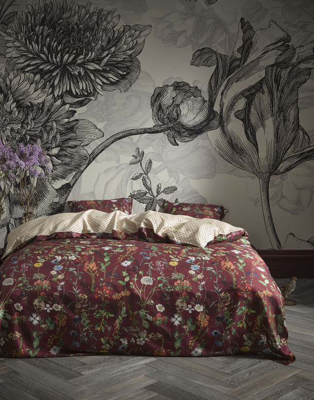 Afbeelding van Essenza Dekbedovertrek Alette burgundy katoensatijn from ColliShop