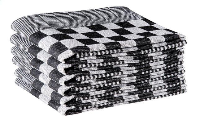 6 keukenhanddoeken Hollands Blok zwart/wit 65 x 65 cm