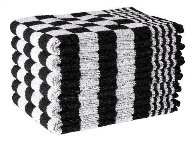 Afbeelding van 6 keukenhanddoeken Badstof zwart/wit 50 x 50 cm from ColliShop