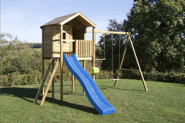 BnB Wood portique avec cabane Lucas et tobbogan bleu