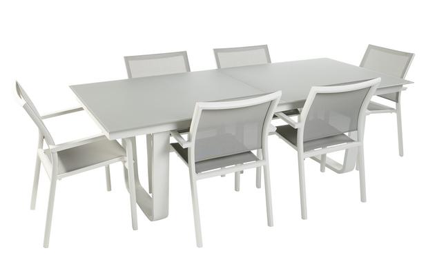 Image pour Ocean Ensemble de jardin Luca/Laos gris clair/blanc avec table à rallonge à partir de ColliShop