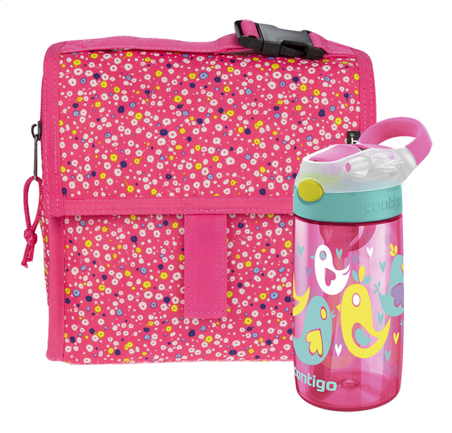 Image pour PackIt sac à lunch Freezable Mini Poppies + Contigo gourde Gizmo Flip rose 420 ml à partir de ColliShop