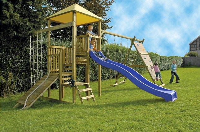Image pour BnB Wood ensemble portique complet Zolder avec toboggan bleu à partir de ColliShop