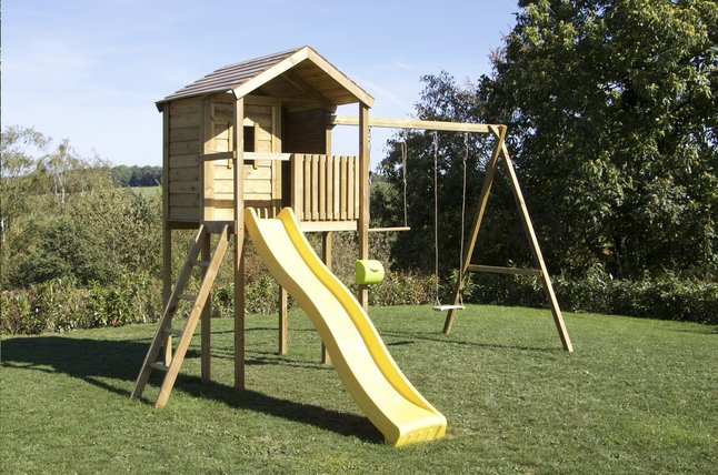 BnB Wood portique avec cabane Lucas et tobbogan jaune