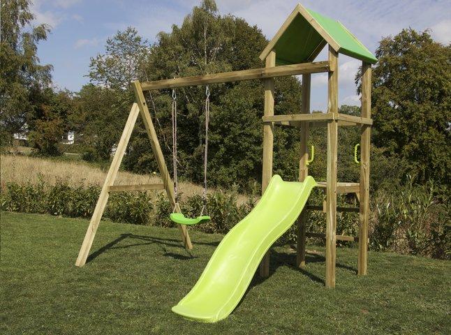 Image pour BnB Wood portique Little Eden avec toboggan Lime à partir de ColliShop