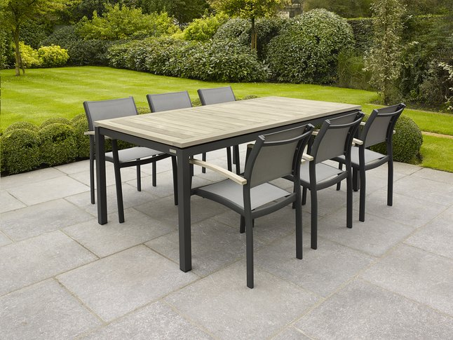 Image pour Table de jardin Marbella grey wash/anthracite L 200 x Lg 100 cm à partir de ColliShop