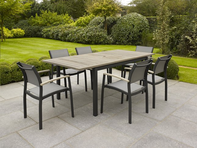 Afbeelding van Tuinset Marbella/Creil grey wash/antraciet L 150 x B 90 cm from ColliShop
