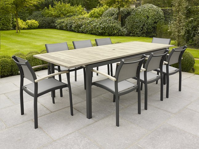 Afbeelding van Tuinset Marbella/Creil grey wash/antraciet L 200 x B 90 cm from ColliShop