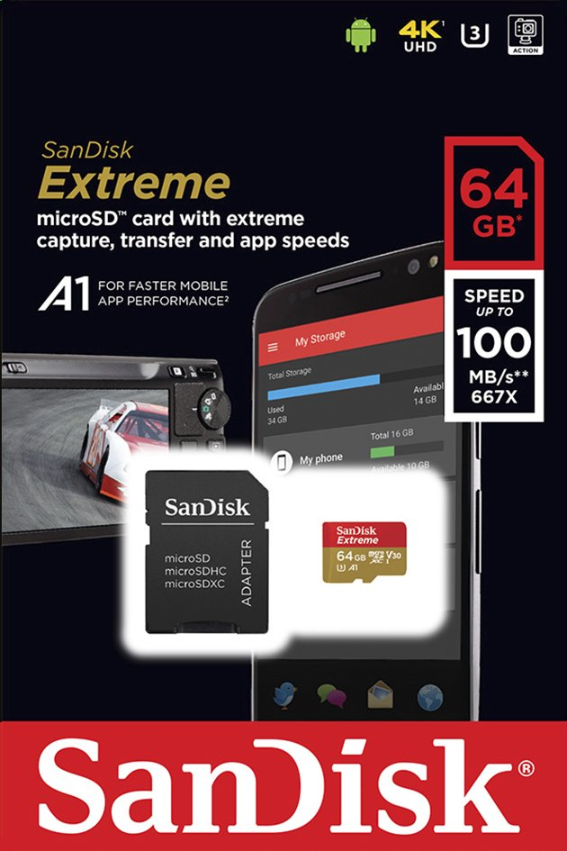 Afbeelding van SanDisk geheugenkaart microSDXC Extreme 64GB Class 10 A1 V30 U3 from ColliShop