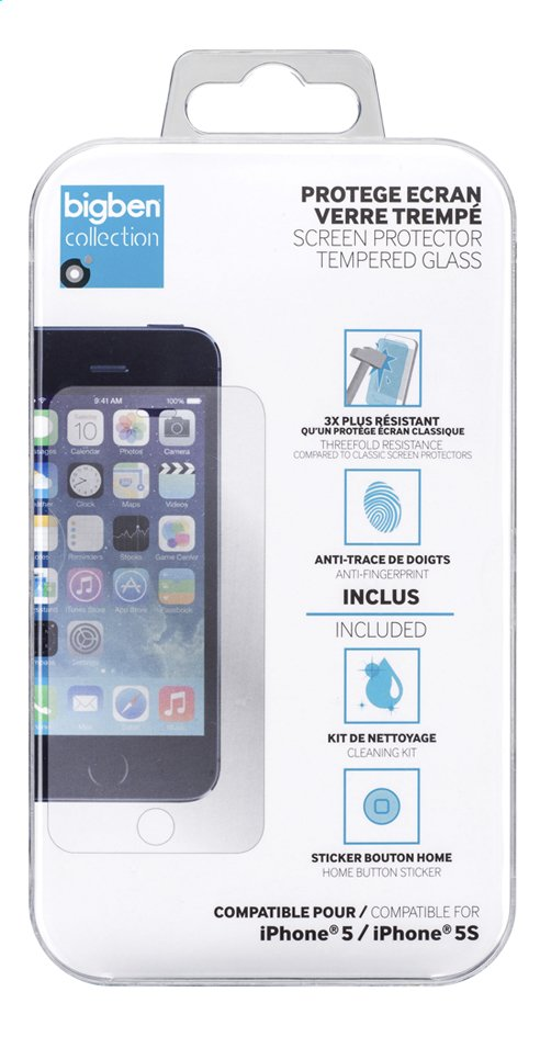 Afbeelding van bigben screen protector Tempered Glass iPhone 5/5S from ColliShop