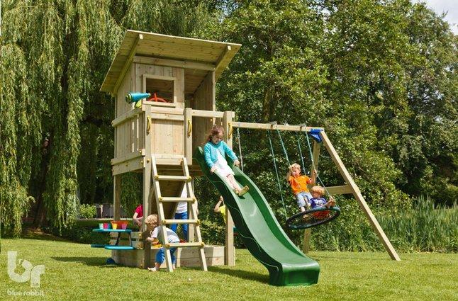 Afbeelding van Blue Rabbit 2.0 schommel met speeltoren en glijbaan Beach Hut groen from ColliShop