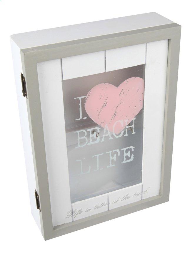 Image pour Cosy@home Armoire à clés I Love Beach Life blanc/gris/rose à partir de ColliShop