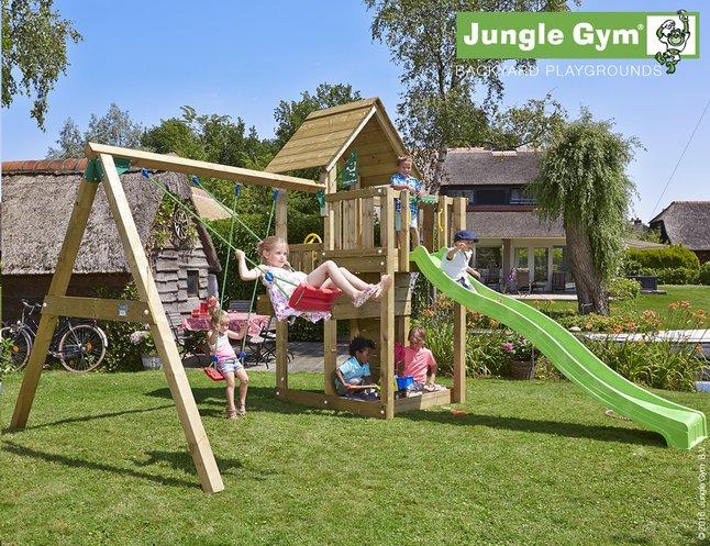 Afbeelding van Jungle Gym houten schommel Cubby met groene glijbaan from ColliShop