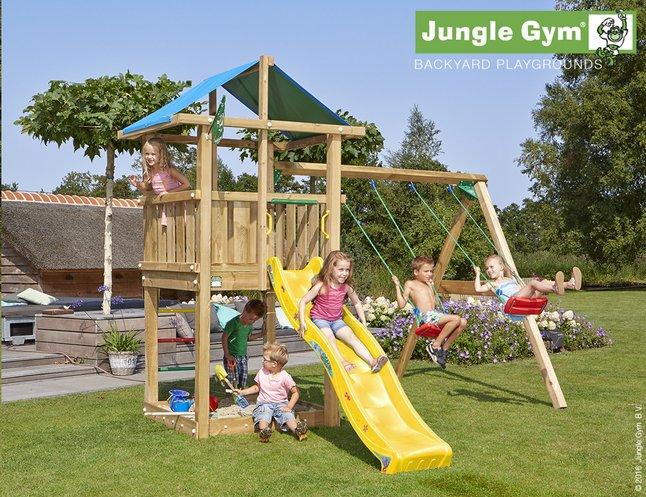 Afbeelding van Jungle Gym houten schommel De Hut met gele glijbaan from ColliShop