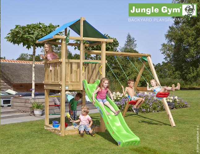Image pour Jungle Gym portique en bois De Hut avec toboggan vert à partir de ColliShop