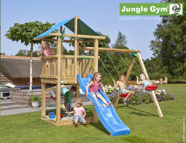 Afbeelding van Jungle Gym houten schommel De Hut met blauwe glijbaan from ColliShop