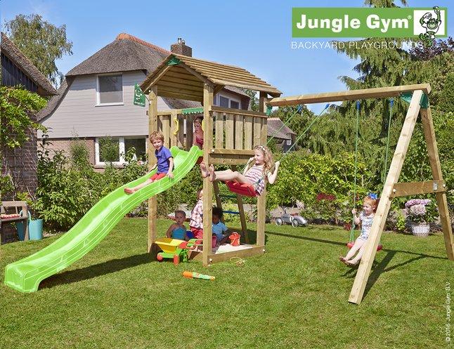 Afbeelding van Jungle Gym houten schommel Cottage met groene glijbaan from ColliShop