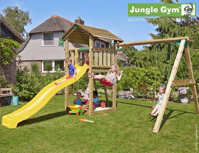 Afbeelding van Jungle Gym houten schommel Cottage met gele glijbaan from ColliShop