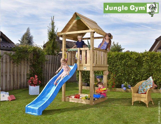 Afbeelding van Jungle Gym houten speeltoren House met blauwe glijbaan from ColliShop
