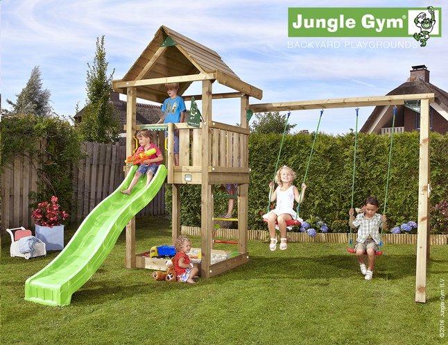 Image pour Jungle Gym portique en bois House avec toboggan vert à partir de ColliShop