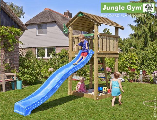 Afbeelding van Jungle Gym houten speeltoren Cottage met blauwe glijbaan from ColliShop
